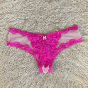 NWT VS dream angels cheeky pink sheer panty
